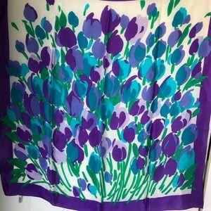 Vintage Nordstrom blue purple tulip silk scarf